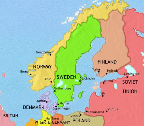 Map of Scandinavia at 1960AD TimeMaps