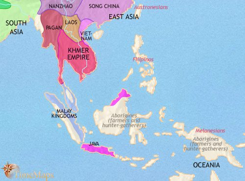 Map of South East Asia at 1215CE