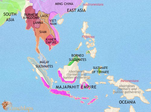 Map of South East Asia at 1453CE