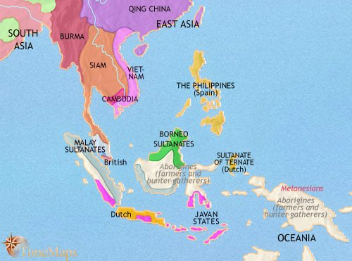 Map of South East Asia at 1837CE