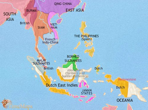 Map Of Asia 1914.Map Of South East Asia At 1871ad Timemaps