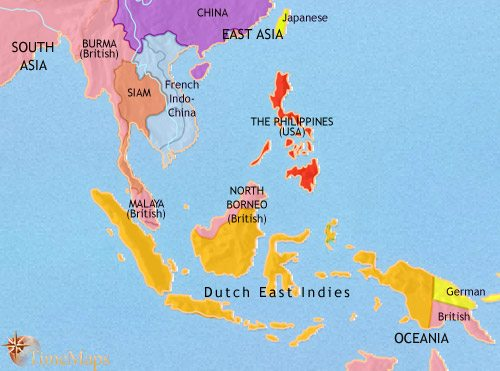 Map of South East Asia at 1914CE