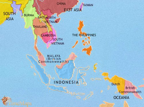 A Map Of East Asia.Map Of South East Asia At 1960ad Timemaps