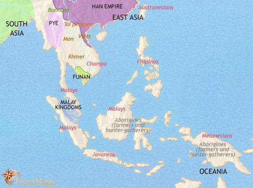 Map of South East Asia at 200CE