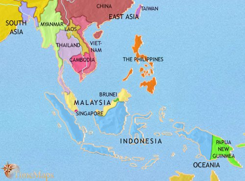 Map of South East Asia at 2005CE