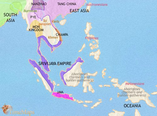 map of south east asia at 750ce