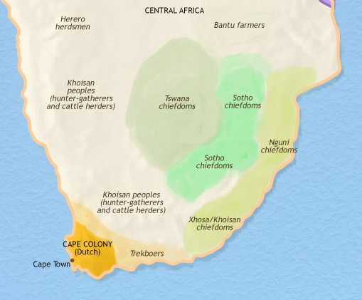 Map of Southern Africa at 1789CE