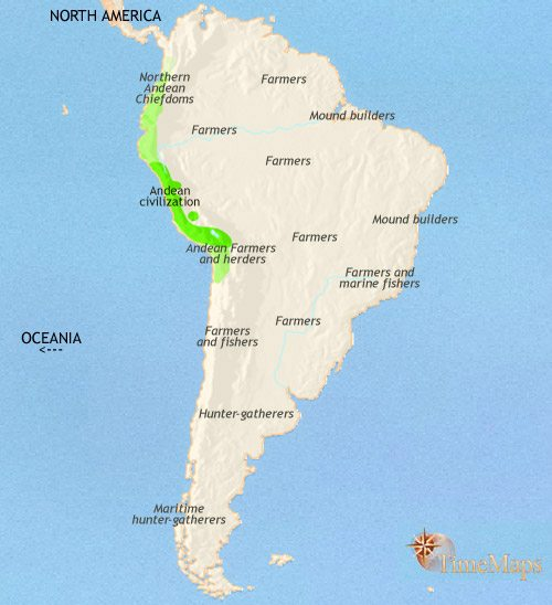Map of South America at 200BCE