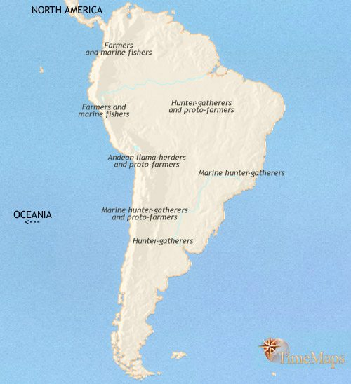 Map of South America at 2500BCE