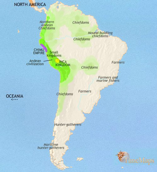 Map of South America at 1215CE
