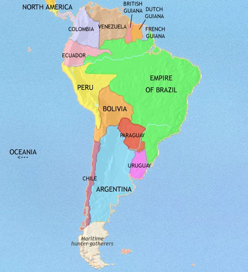 Colonial South America Map.South America History 1914 Ce