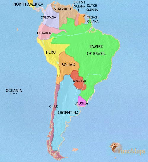 Map of South America at 1871CE