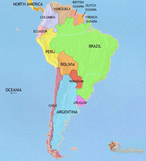 Map of South America at 1960CE