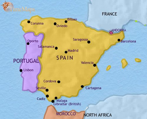 Map of Spain and Portugal at 1960CE