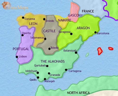 Map of Spain and Portugal at 1215CE