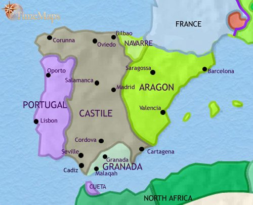 Map of Spain and Portugal at 1453CE