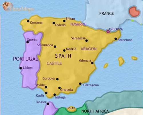 Map of Spain and Portugal at 1648CE