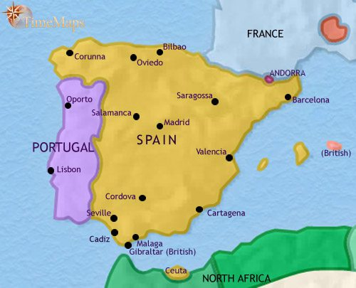 Map of Spain and Portugal at 1789CE
