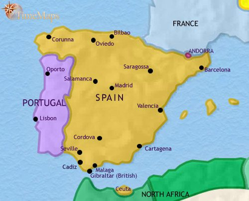 Map of Spain and Portugal at 1837CE