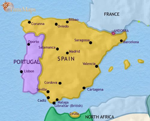 Map of Spain and Portugal at 1871CE