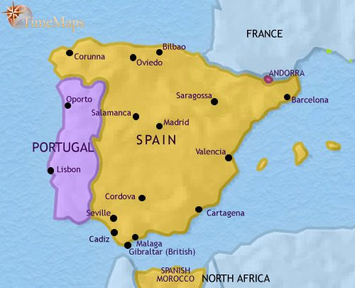 Map of Spain and Portugal at 1914CE