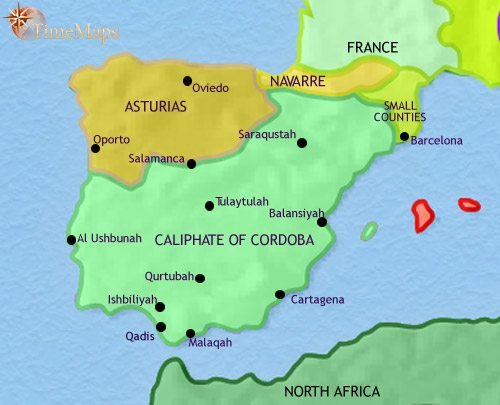 Map Of Spain Under Moorish Rule.Map Of Spain And Portugal At 750ad Timemaps