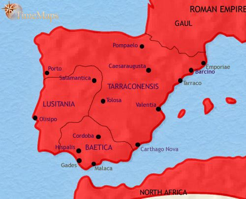 Map of Spain and Portugal at 200CE