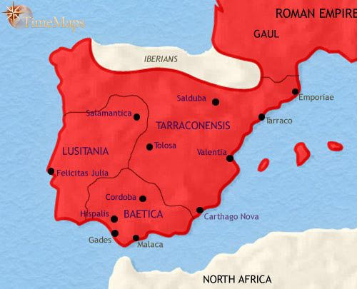 Map of Spain and Portugal at 30BCE