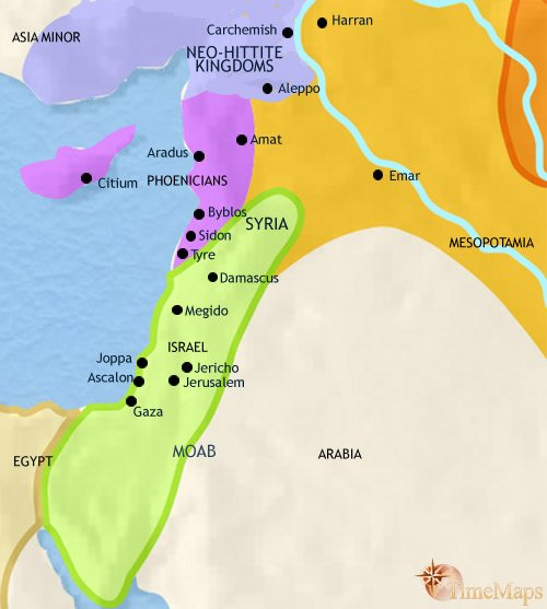 Map of Syria at 1000BCE
