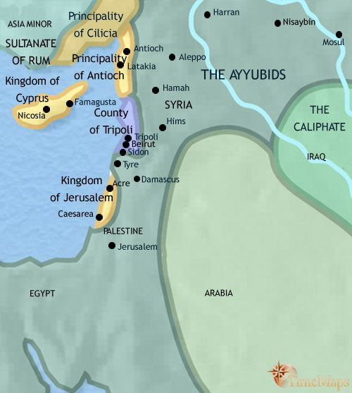 Map of Syria at 1215CE