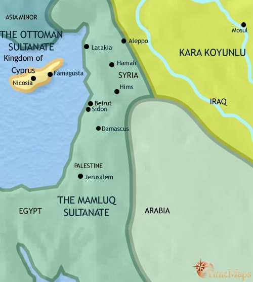 Map of Syria at 1453CE