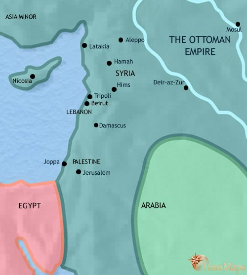 Map of Syria at 1914CE