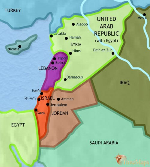 Map of Syria at 1960CE