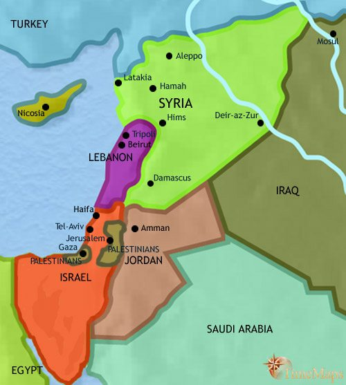 Map of Syria at 2005CE