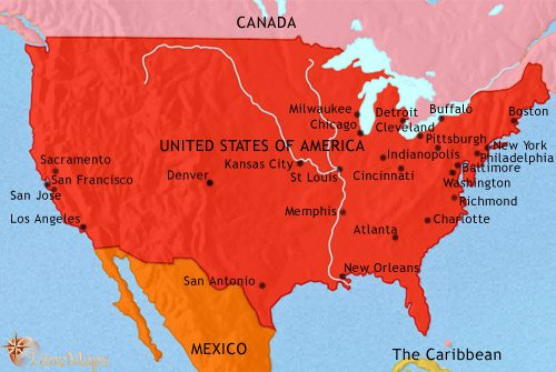 Map of The USA at 1871CE