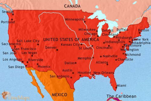 Map of The USA at 1960CE