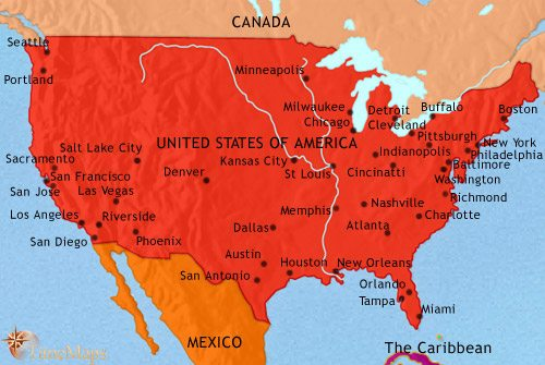 Map of The USA at 2005CE