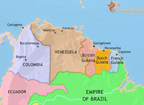 Map of Venezuela, Colombia and the Guianas at 1837CE