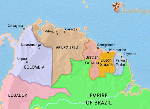 Map of Venezuela, Colombia and the Guianas at 1871CE