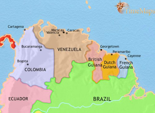 Map of Venezuela, Colombia and the Guianas at 1914CE