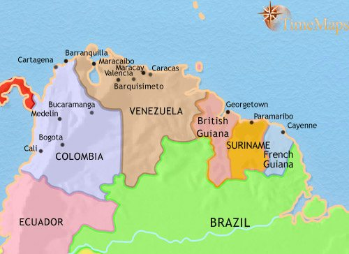 Map of Venezuela Colombia and the Guianas at 1960AD TimeMaps