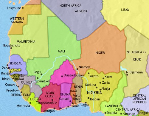 Map of West Africa at 2005CE