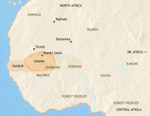 Map of West Africa at 750CE