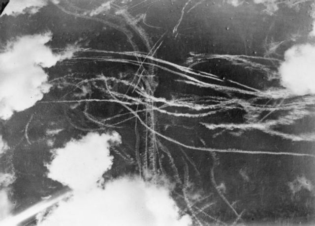 Pattern of condensation trails left by British and German aircraft