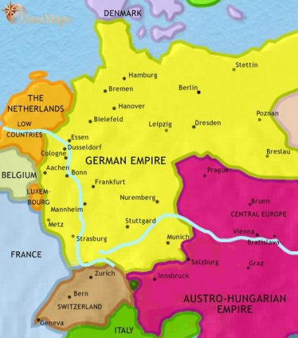map-german-austrian-empires-1871
