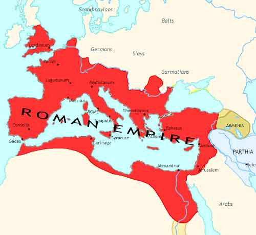 Map of Roman Empire at 180CE