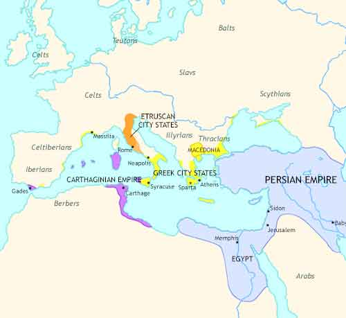 Map of Roman Empire at 500BCE