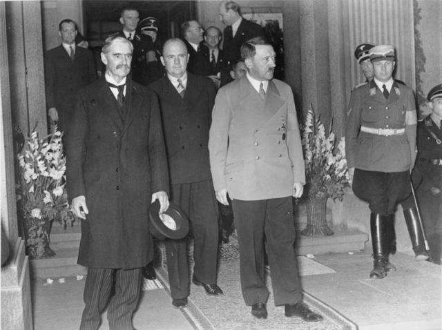 Chamberlain-and-Hitler-leave-the bad-gedesberg-meeting