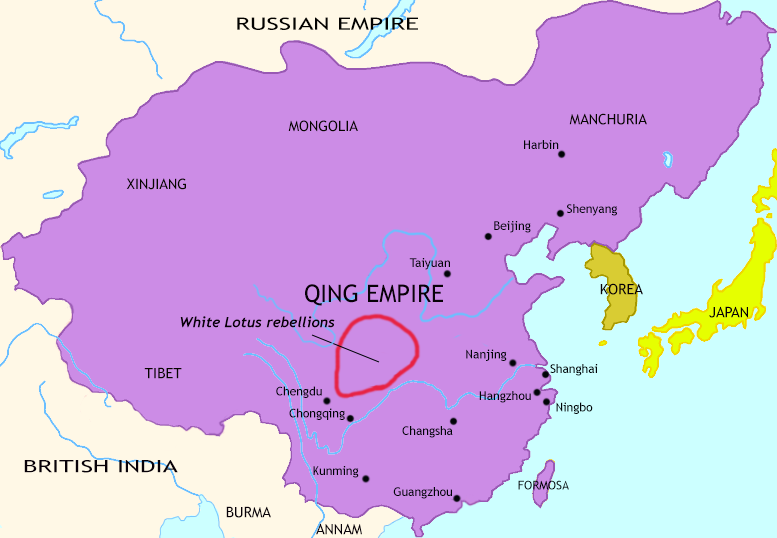 Map of The Last Century of Imperial China at 1815CE