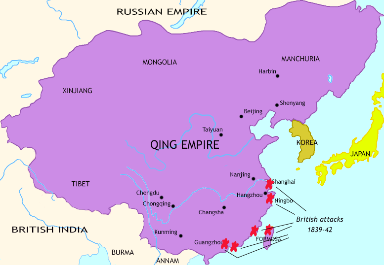 Map of The Last Century of Imperial China at 1842CE